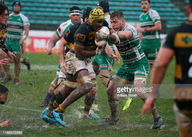 Pita-Gus Sowakula of Taranaki during the round 2 Mitre 10 Cup match between Manawatu and Taranaki at Central Energy Trust Arena on August 17, 2019 in...