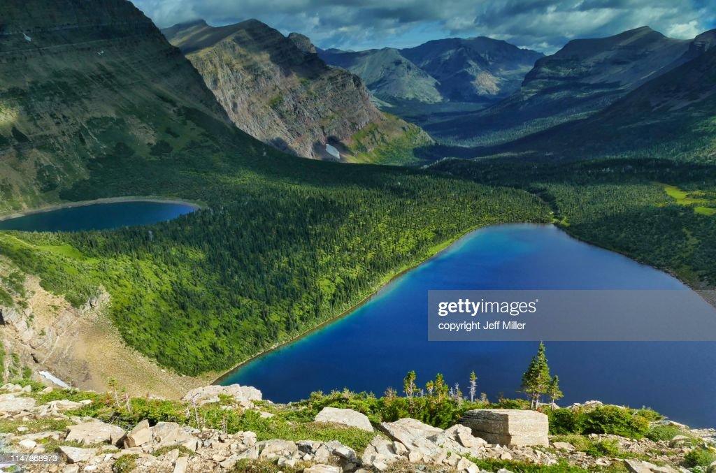 Pitamakan Lake and Lake of the Seven Winds, Two Medicine District, Glacier National Park, Montana, USA. : Stock Photo