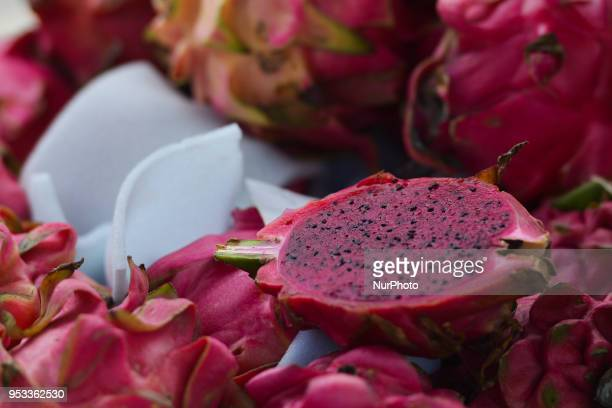 Pitaya fruit or dragon fruit seen on the exotic fruits market in Funechal On Sunday April 22 in Funchal Madeira Island Portugal