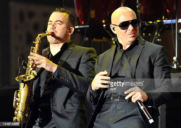 Pitbull American rapper pop singer performs during the 11th edition of the Mawazine international music festival 'World Rhythms' in Rabat on May 19...