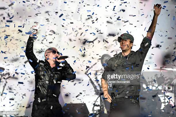 Pitbull and Enrique Iglesias perform onstage at Allstate Arena on February 20 2015 in Rosemont Illinois