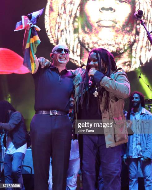 Pitbull and Stephen Marley perform at Kaya Fest at Bayfront Park Amphitheater on April 22 2017 in Miami Florida