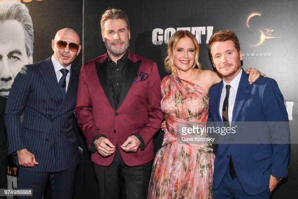 Pitbull John Travolta Kelly Preston and Kevin Connolly attend the New York premiere of Gotti starring John Travolta in theaters June 15 2018 on June...