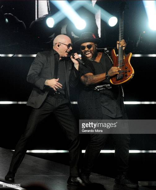 Pitbull performs at the Amway Center on November 14 2017 in Orlando Florida