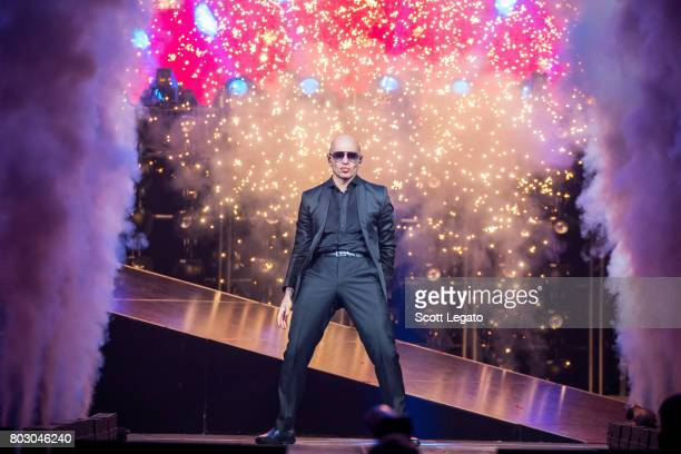 Pitbull performs at The Palace of Auburn Hills on June 28 2017 in Auburn Hills Michigan