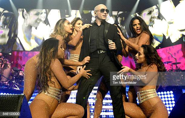Pitbull performs during 'The Bad Man Tour' at Sleep Train Arena on July 10 2016 in Wheatland California