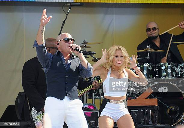 """Pitbull performs on ABC's """"Good Morning America"""" at Rumsey Playfield on May 31, 2013 in New York City."""