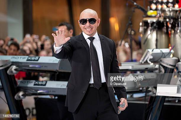 "Pitbull performs on NBC's ""Today"" at Rockefeller Plaza on May 25, 2012 in New York City."