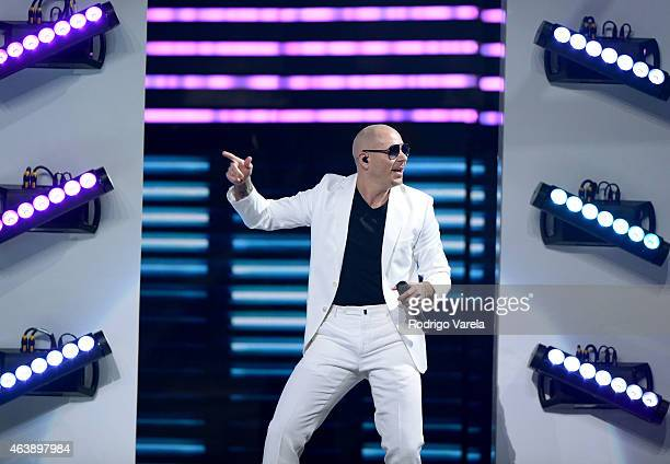 Pitbull performs on stage at the 2015 Premios Lo Nuestros Awards at American Airlines Arena on February 19 2015 in Miami Florida