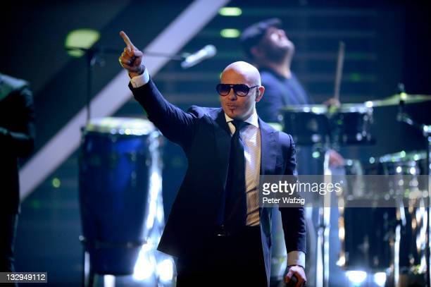 Pitbull performs on stage during 'The X Factor Live' TVShow on November 15 2011 in Cologne Germany