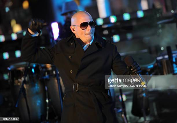 Pitbull performs onstage during Dick Clark's New Year's Rockin' Eve with Ryan Seacrest 2012 at Times Square on December 31, 2011 in New York City.