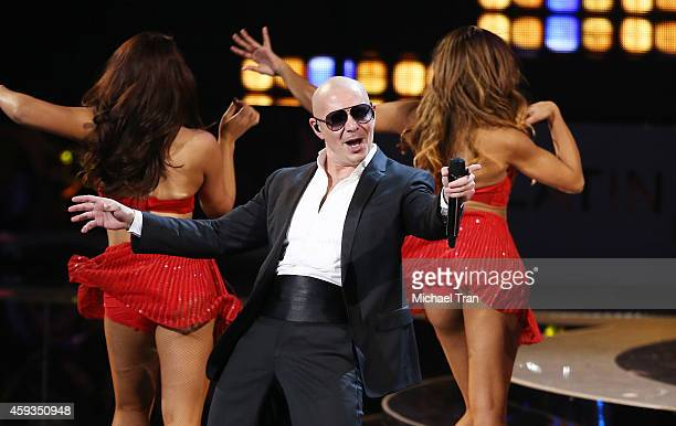 Pitbull performs onstage during the 15th Annual Latin GRAMMY Awards held at the MGM Grand Arena on November 20 2014 in Las Vegas Nevada