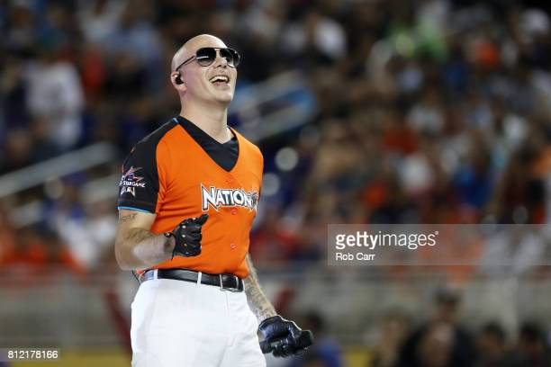 Pitbull performs prior to the T-Mobile Home Run Derby at Marlins Park on July 10, 2017 in Miami, Florida.
