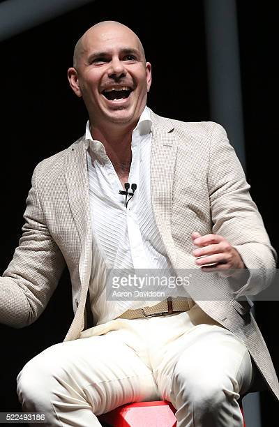 Pitbull speaks at Emerge Americas at the Miami Beach Convention Center on April 19 2016 in Miami Beach Florida