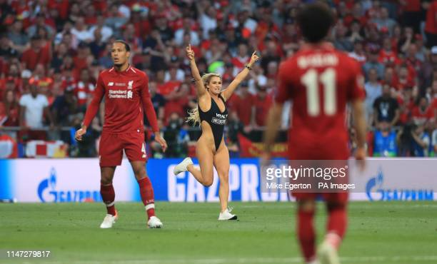 Pitch invader interrupts play during the UEFA Champions League Final at the Wanda Metropolitano, Madrid.