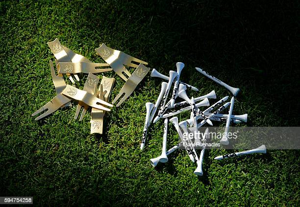 Pitch mark repairers and golf tees on the first tee during the PGA Super 60s Tournament at Gleneagles on August 24 2016 in Auchterarder Scotland