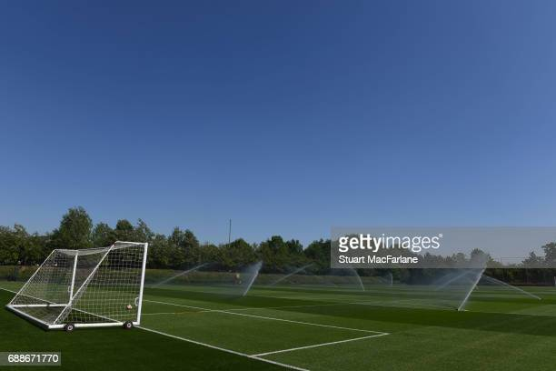 Pitch watering at Arsenal's training ground at London Colney on May 26 2017 in St Albans England