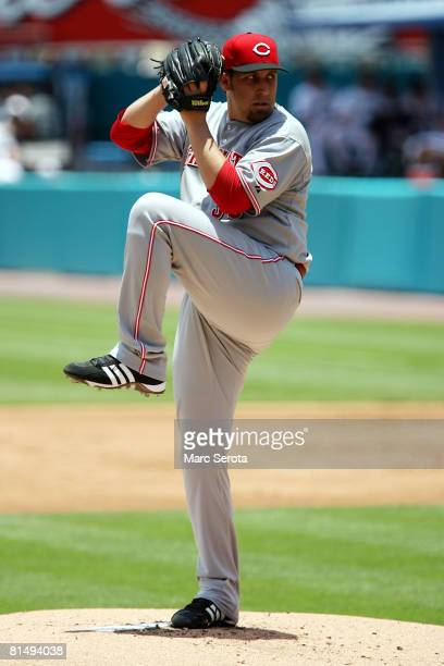Pitcher Aaron Harang of the Cincinnati Reds throws against the Florida Marlins on June 8, 2008 at Dolphin Stadium in Miami, Florida.