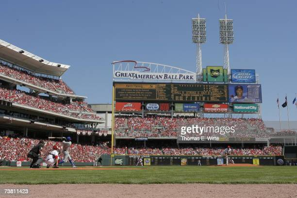 Pitcher Aaron Harang of the Cincinnati Reds throws out the first pitch against Alfonso Soriano of the Chicago Cubs during a Opening Day game on April...