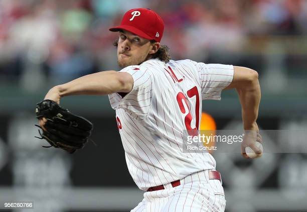 Pitcher Aaron Nola of the Philadelphia Phillies delivers a pitch against the San Francisco Giants during the third inning of a game at Citizens Bank...