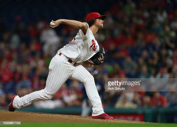 Pitcher Aaron Nola of the Philadelphia Phillies in action against the Atlanta Braves during a game at Citizens Bank Park on September 29 2018 in...