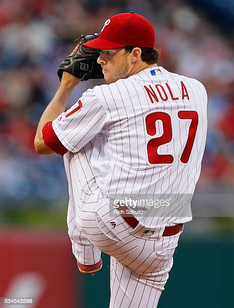 Pitcher Aaron Nola of the Philadelphia Phillies in action against the Atlanta Braves during a game at Citizens Bank Park on May 20 2016 in...
