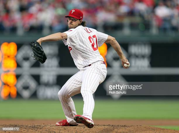 Pitcher Aaron Nola of the Philadelphia Phillies in action against the San Francisco Giants during a game at Citizens Bank Park on May 8 2018 in...