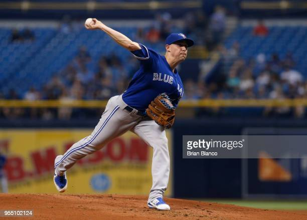 Pitcher Aaron Sanchez of the Toronto Blue Jays pitches during the first inning of a game against the Tampa Bay Rays on May 5 2018 at Tropicana Field...