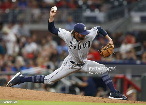Pitcher Adam Cimber of the San Diego Padres throws a pitch during the game against the Atlanta Braves at SunTrust Park on June 14 2018 in Atlanta...