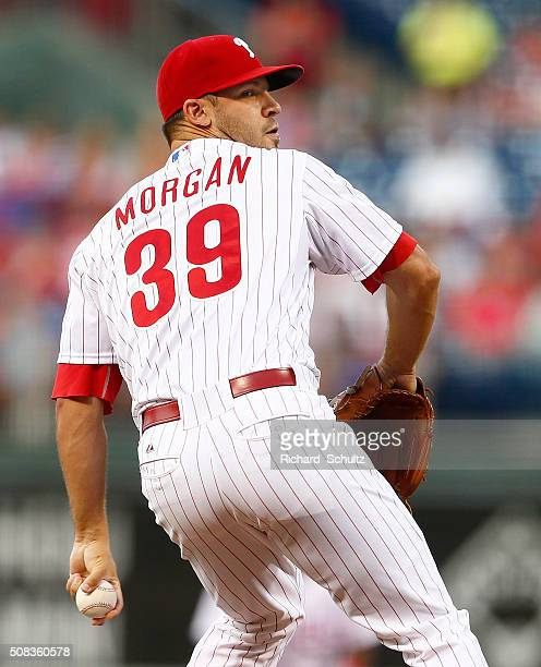 Pitcher Adam Morgan of the Philadelphia Phillies delivers a pitch against the San Diego Padres during a MLB game at Citizens Bank Park on August 29...