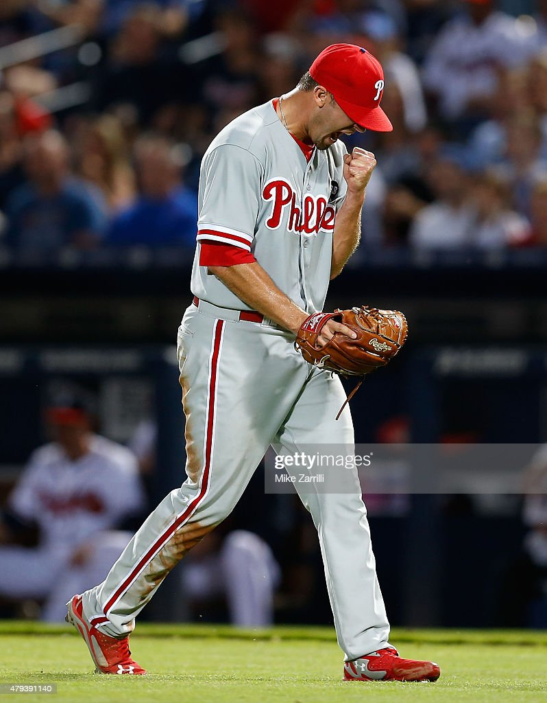 Pitcher Adam Morgan #39 of the Philadelphia Phillies reacts after getting out of a jam in the sixth inning during the game against the Atlanta Braves at Turner Field on July 3, 2015 in Atlanta, Georgia.