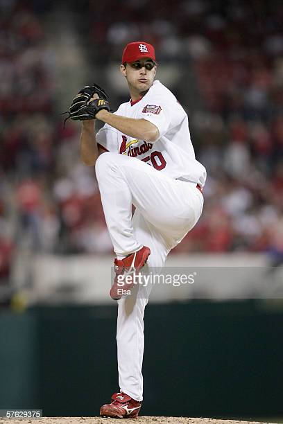 Pitcher Adam Wainwright of the St Louis Cardinals winds back to pitch during the game against the Colorado Rockies at Busch Stadium on May 92006 in...