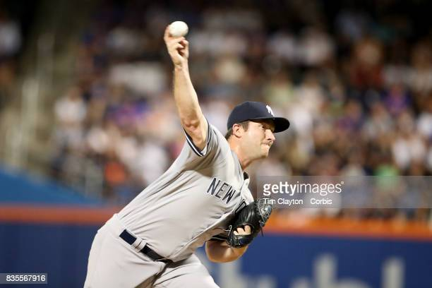 Pitcher Adam Warren of the New York Yankees pitching during the New York Yankees Vs New York Mets regular season MLB game at Citi Field on August 16...