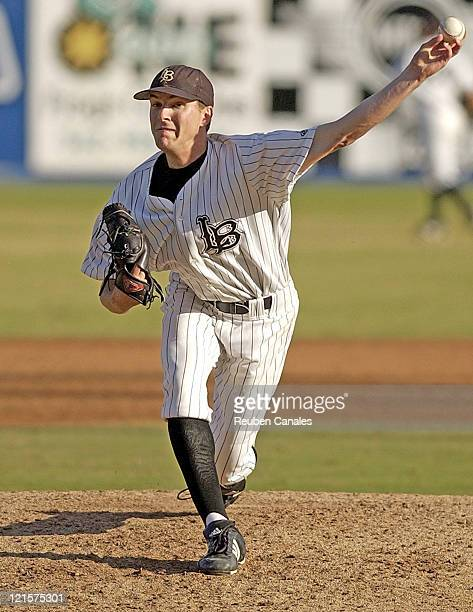 Pitcher Adam Wilk of the Long Beach State Dirtbags delivers to the plate in a 9 to 8 win over the University of Texas Longhorns on February 10, 2007...