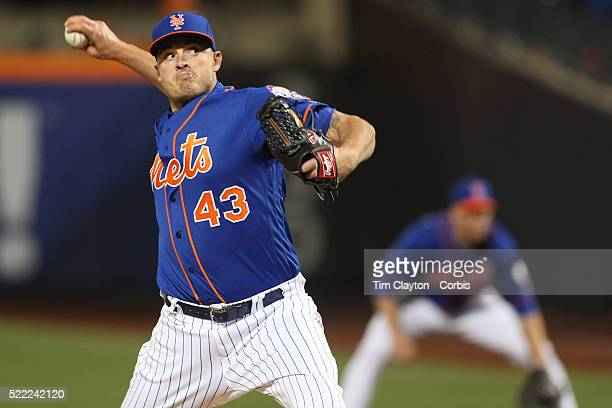Pitcher Addison Reed New York Mets pitching during the Miami Marlins Vs New York Mets MLB regular season ball game at Citi Field on April 11 2016 in...