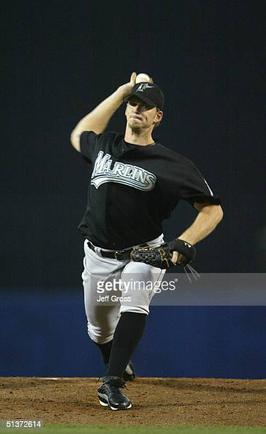Pitcher AJ Burnett of the Florida Marlins delivers against the Los Angeles Dodgers during the game at Dodger Stadium on August 17 2004 in Los Angeles...