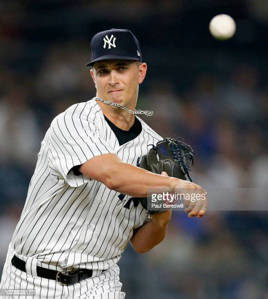 Pitcher AJ Cole of the New York Yankees in action during an MLB baseball game against the Chicago White Sox on August 27 2018 at Yankee Stadium in...