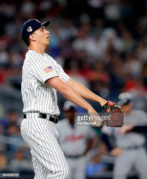 Pitcher AJ Cole of the New York Yankees reacts in an interleague MLB baseball game against the Atlanta Braves on July 3 2018 at Yankee Stadium in the...