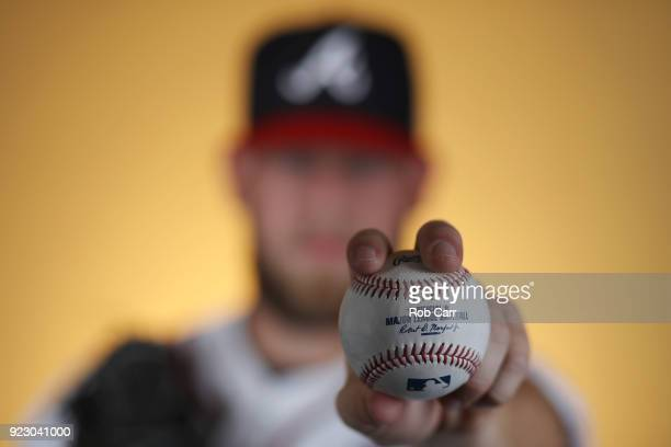 Pitcher AJ Minter of the Atlanta Braves poses for a photo during photo days at Champion Stadium on February 22 2018 in Lake Buena Vista Florida