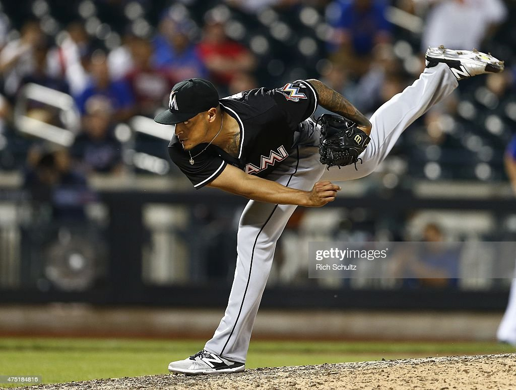 Pitcher A.J. Ramos #44 of the Miami Marlins delivers a pitch against the New York Mets on May 29, 2015 at Citi Field in the Flushing neighborhood of the Queens borough of New York City. The Marlins defeated the Mets 4-3.