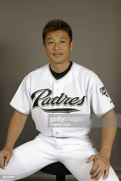 Pitcher Akinori Otsuka of the San Diego Padres poses for a picture during media day at Peoria Sports Complex on February 28 2004 in Peoria Arizona