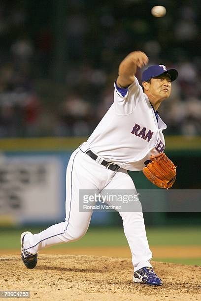 Pitcher Akinori Otsuka of the Texas Rangers throws against the Boston Red Sox at Rangers Ballpark April 8 2007 in Arlington Texas