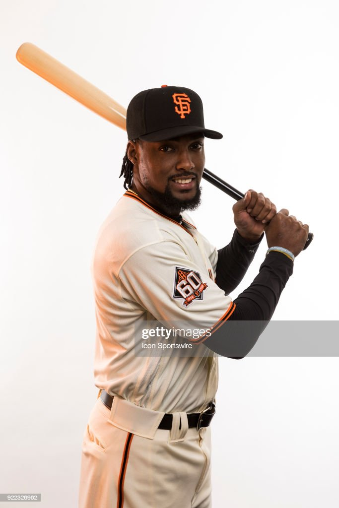 Pitcher Alan Hanson (82) poses for a photo during the San Francisco Giants photo day on Tuesday, Feb. 20, 2018 at Scottsdale Stadium in Scottsdale, Ariz.
