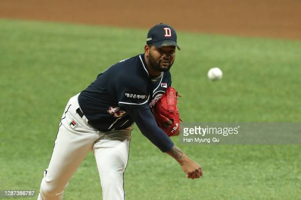 Pitcher Alcantara Raul of Doosan Bears throws in the bottom of the first inning during the Korean Series Game Six between Doosan Bears and NC Dinos...