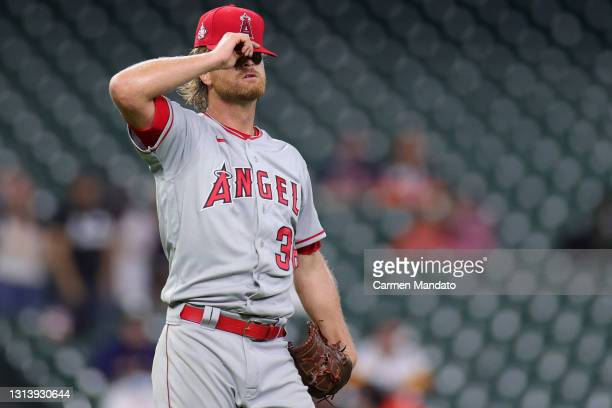 Pitcher Alex Cobb of the Los Angeles Angels reacts after walking Yuli Gurriel of the Houston Astros during the second inning at Minute Maid Park on...