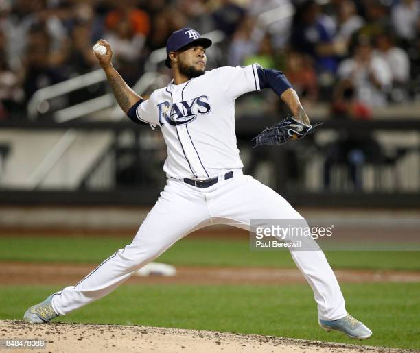 Pitcher Alex Colome of the Tampa Bay Rays pitches during an MLB baseball game against the New York Yankees on September 12 2017 at CitiField in the...