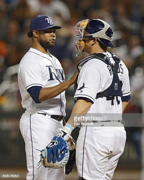Pitcher Alex Colome talks with catcher Wilson Ramos of the Tampa Bay Rays on the mound during an MLB baseball game against the New York Yankees on...