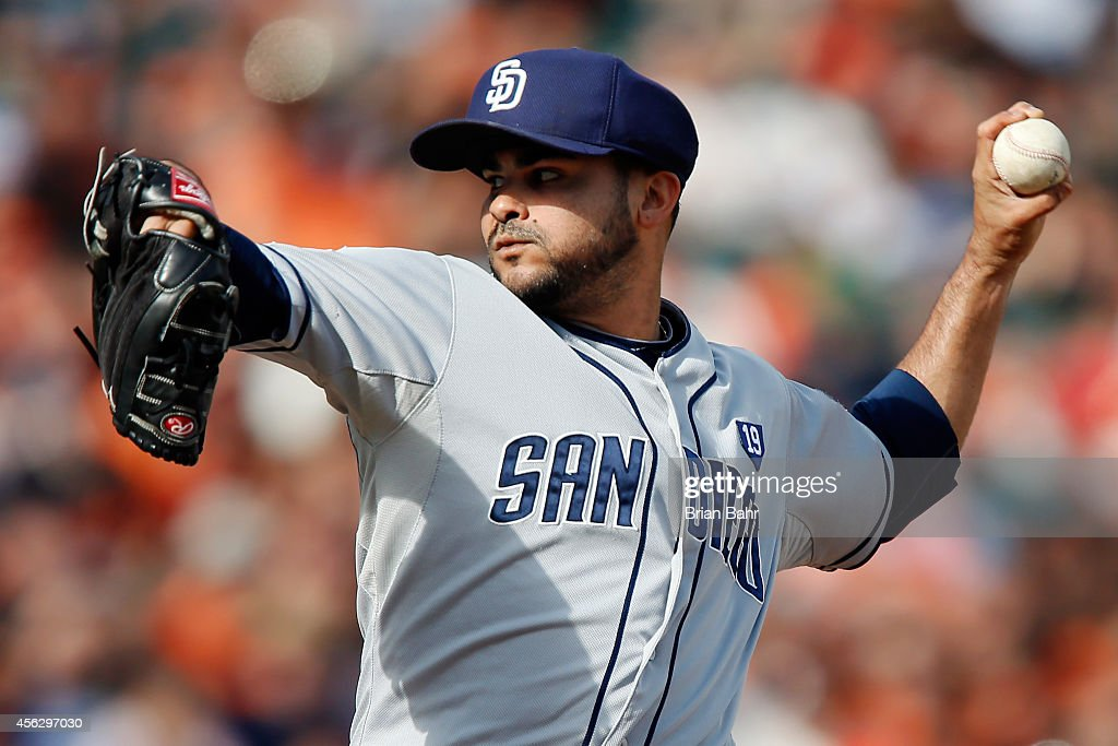Pitcher Alex Torres #54 of the San Diego Padres throws against the San Francisco Giants in the seventh inning at AT&T Park on September 28, 2014 in San Francisco, California. The Giants won 9-3.
