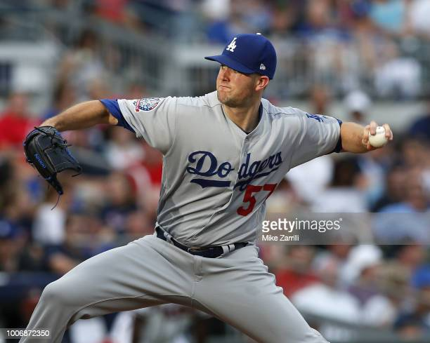 Pitcher Alex Wood of the Los Angeles Dodgers in throws a pitch in the first inning during the game against the Atlanta Braves at SunTrust Park on...