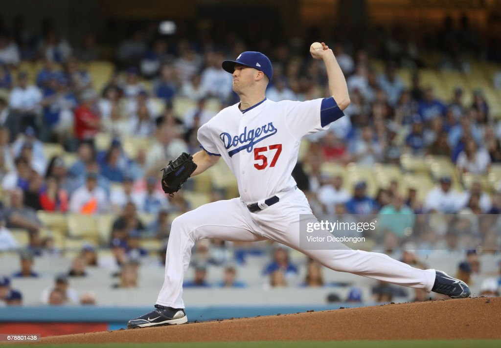 Pitcher Alex Wood #57 of the Los Angeles Dodgers pitches in the first inning during the MLB game against the San Francisco Giants at Dodger Stadium on May 2, 2017 in Los Angeles, California. The Dodgers defeated the Giants 13-5.